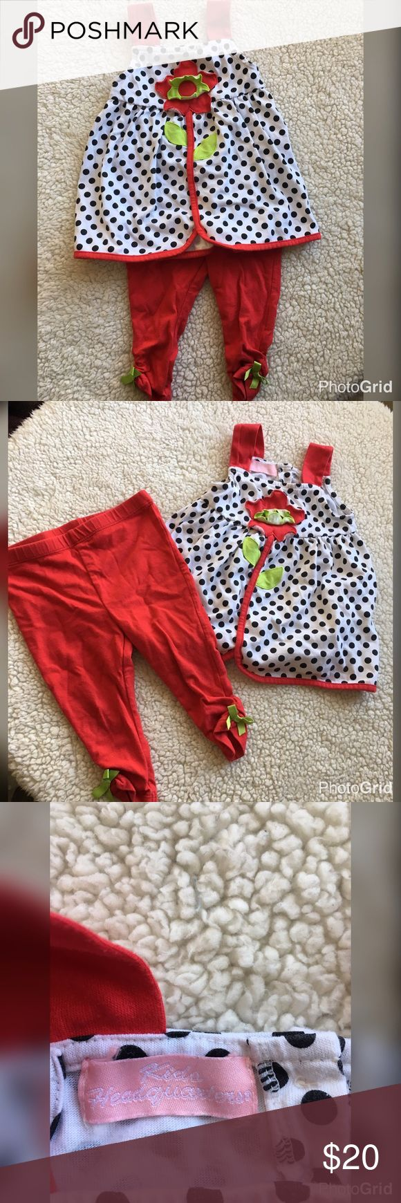 Toddler 2T girl adorable 2 piece set Really cute 2t set by Kids Headquarters. Daughter wore it once and grew out of it. This outfit is so fun and cute. Polka dots and flowers and little red leggings with lime green bows! 👶🏻🌹 Kids Headquarters Matching Sets