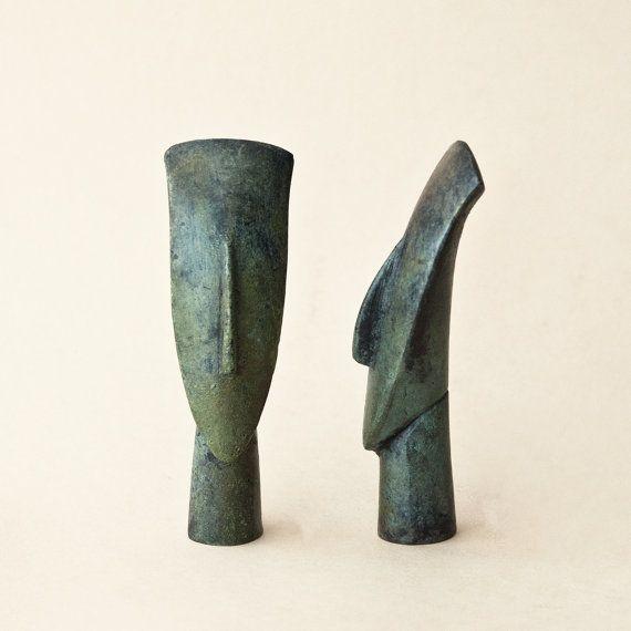 Abstract Bronze Figurine Head, Metal Art Sculpture, Greek Cycladic Statue, Museum Quality Art, Geometric Sculpture, Minimalist Art