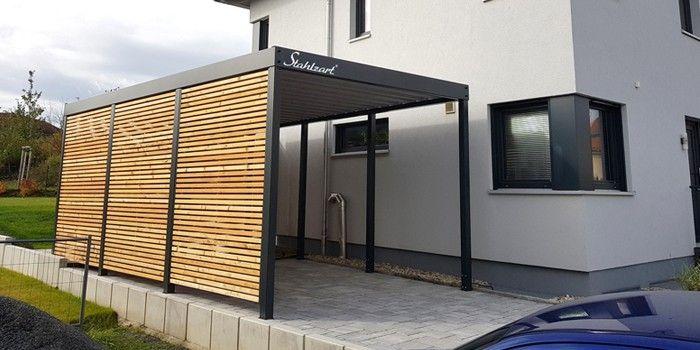 Einzelcarport Holz Metall Stahl Mit Abstellraum Modern Stahlzart In 2020 Carport Haus Ideen Aussen Haus