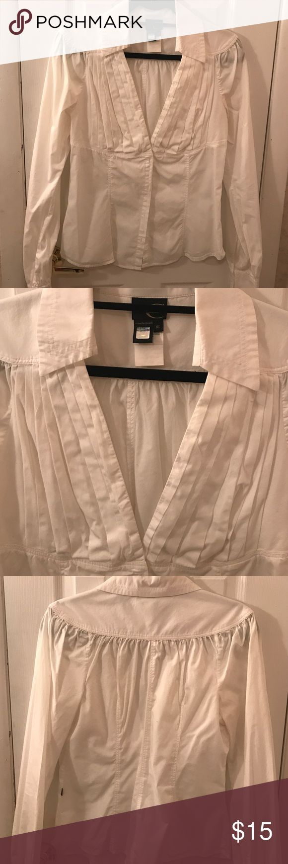 White cotton blouse White cotton blouse with deep pleated V-neck with snap closure at the top, button down. L/S Just Cavalli Tops Blouses