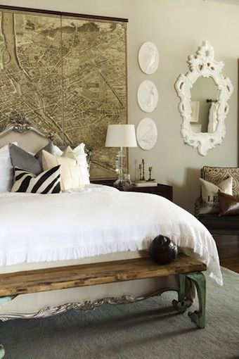 42 best vintage world maps images on pinterest world map wallpaper gorgeous eclectic bedroom design with vintage map wall art french headboard vintage wood bench gray pillow gray rug and z gallerie angelique mirror gumiabroncs Image collections