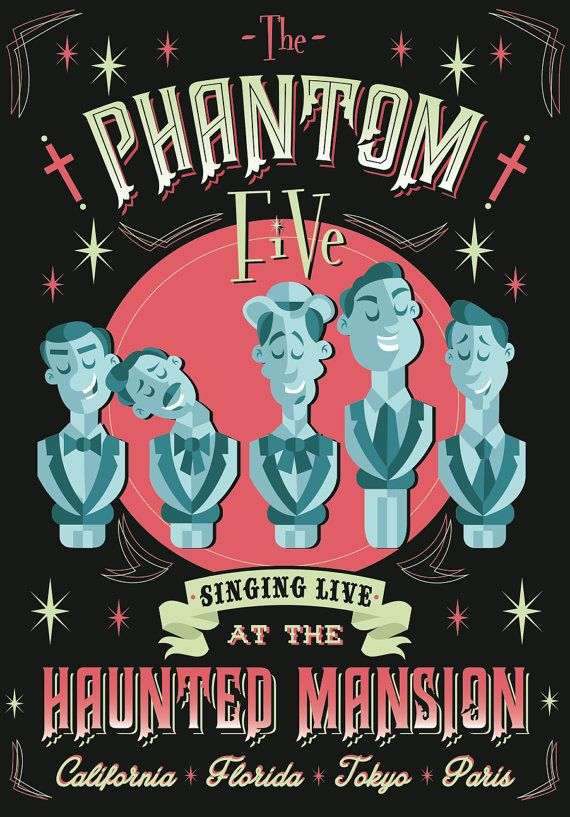 Phantom Five Haunted Mansion inspired print by Philhowelldesign, £10.00