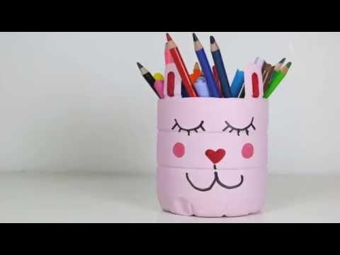 DIY Back2School Idea - Super Cute Pink Cat PET Bottle Pen Holders