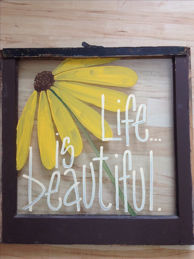 Hand painted window instead of a traditional painting or photograph /// easy for anyone to add a personal and fun touch to their home