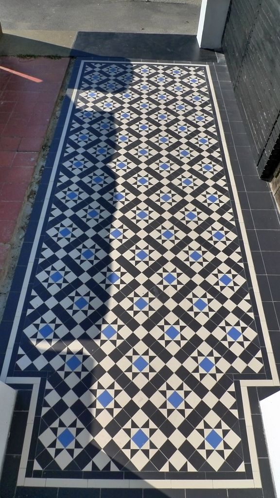 victorian mosaic tile path black white and blue dulwich