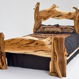 Reclaimed furniture for bedrooms driftwood river rocks antlers pinterest reclaimed - Adirondack bed frame ...