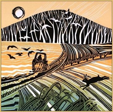 Follow the Plough, Rob Barnes Linocut
