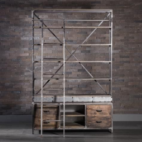 Industrial Bookcase With Ladder Probably too rustic