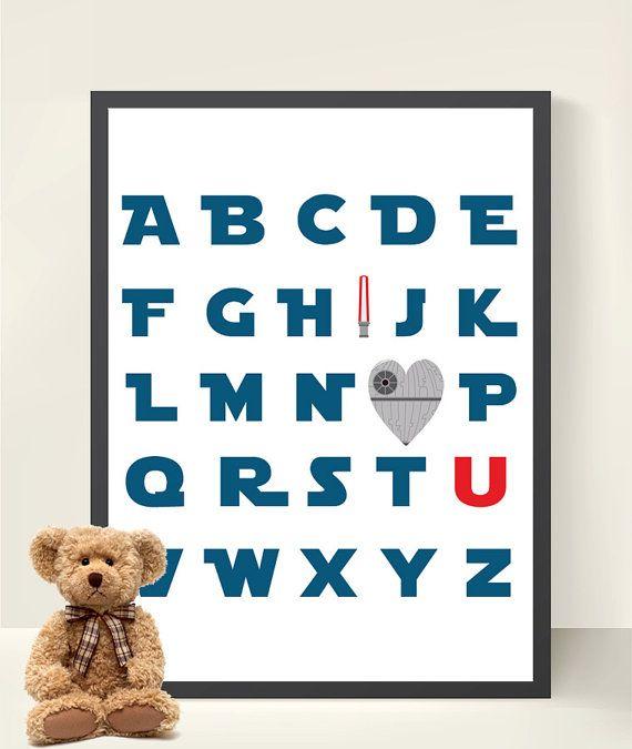 ABC Star Wars Kids Art- Boy Room Decor- 8x10  Boy Nursery Decor Star Wars Nursery- Jedi Wall Art - Boy Wall Art- Personalized