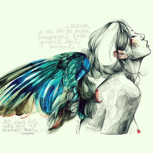 """""""Les nits que no acaben mai"""", una #ilustración de @paulabonet con #ángel                                                                                                                                                      Más"""