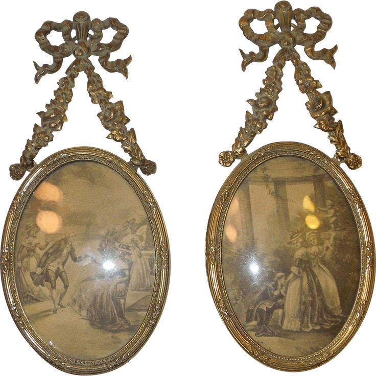 1800's Pair of French Victorian Hanging Portrait Frames