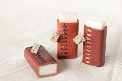 Eraser case made by leather.