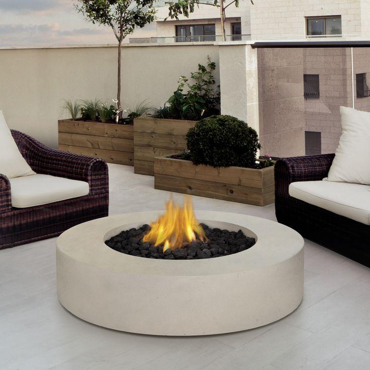 Mezzo Round Fire Table In Antique White @ Http://www.dynamichomedecor.