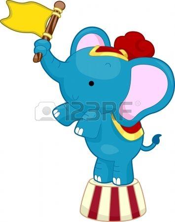 Cartoon Illustration of Circus Elephant waving a flag while balancing on top of a circus platform