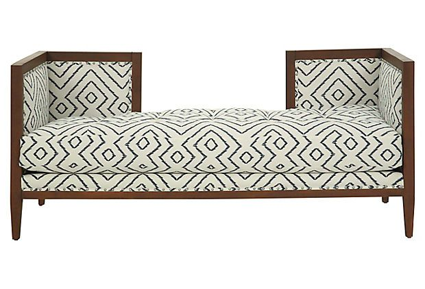 This conversation bench in white-and-navy ikat would be the perfect piece for a small nook!