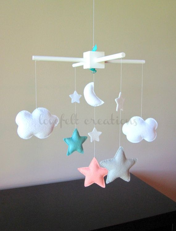 Baby Crib Mobile - Baby Mobile - Aqua Coral Mobile - Custom baby mobile - Pick your colors :) on Etsy, $88.00