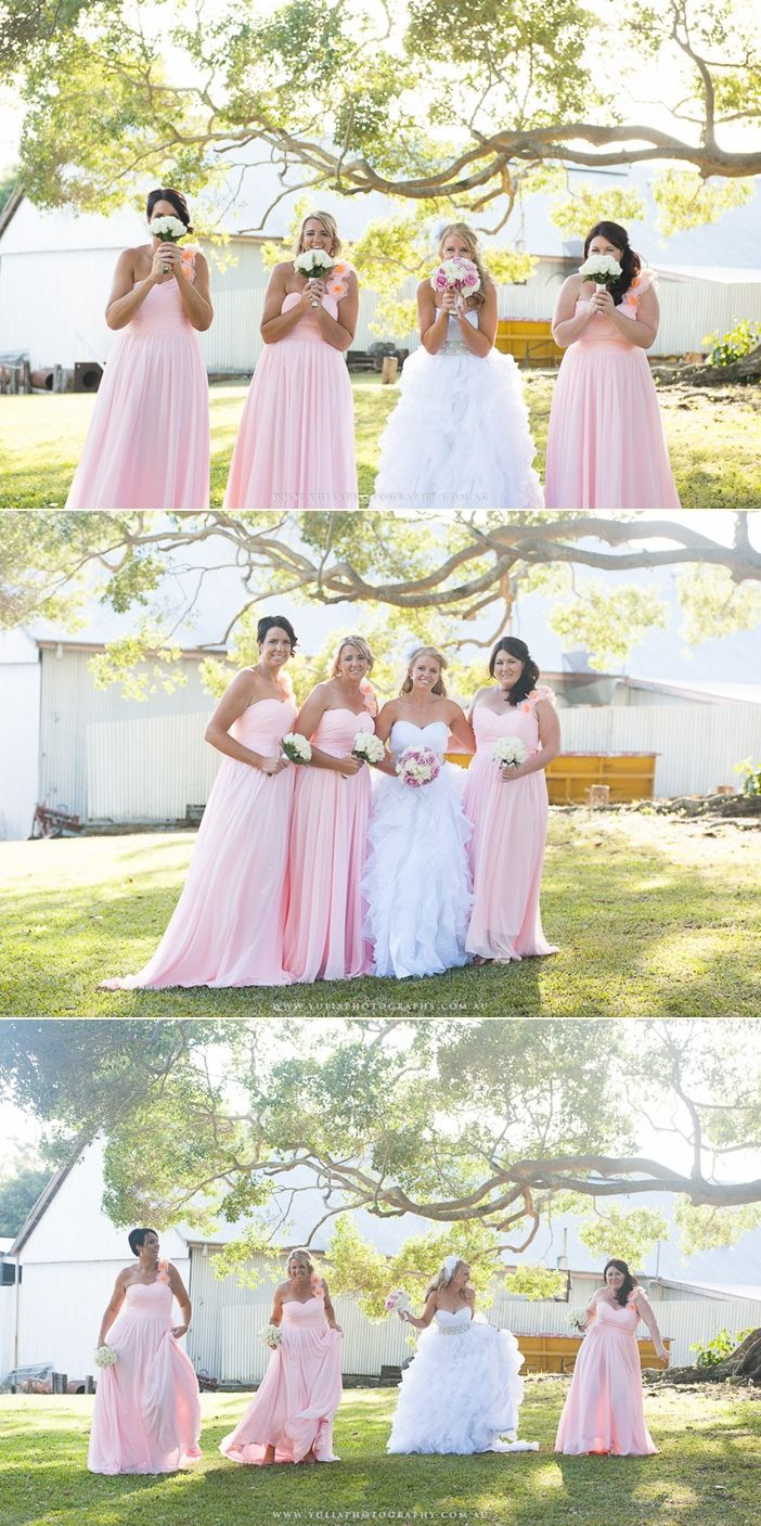Fun bridesmaids photo ideas. Love these pink bridesmaid dresses! ~Sydney wedding photography by Yulia Photography~ www.yuliaphotography.com.au