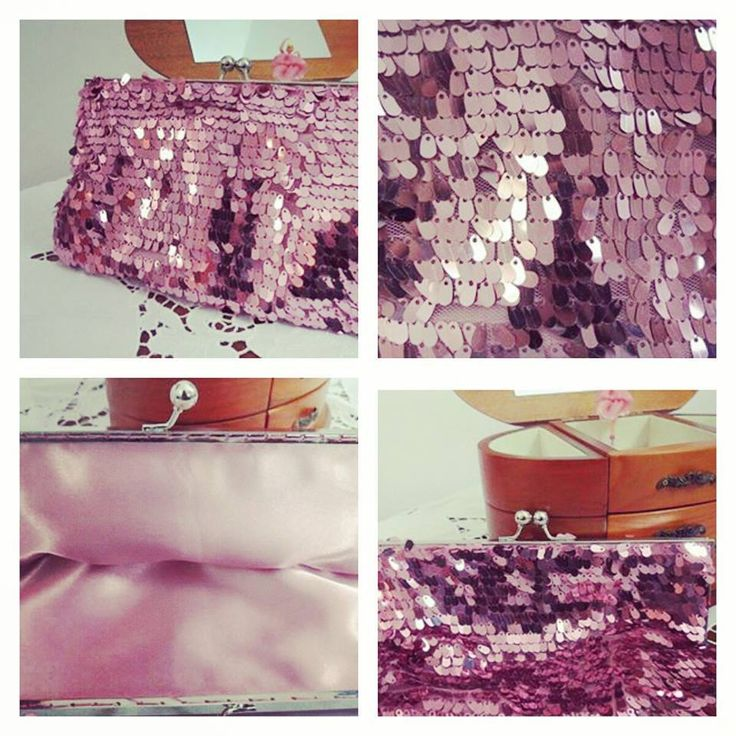 Pink Sequined Clutch