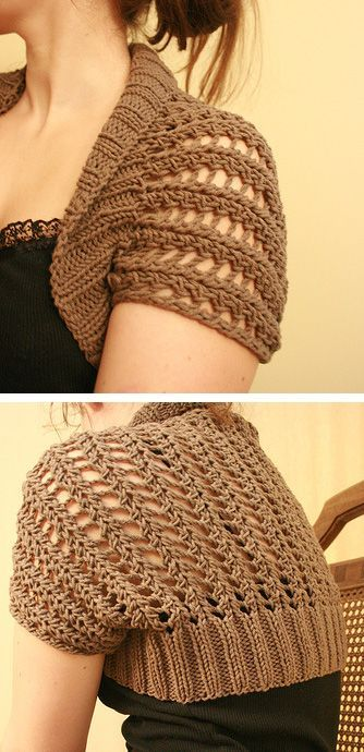Free easy knitting pattern for Ribbed Lace Bolero -- a knitted rectangle that is seamed to form the shrug shape.
