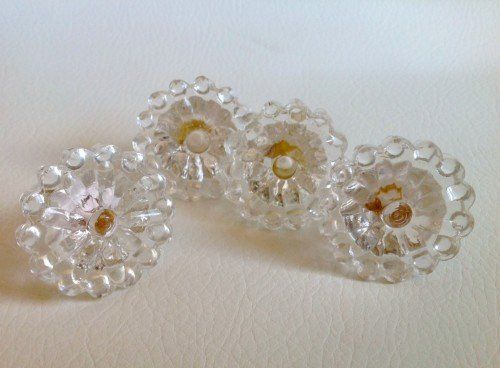 Clear Beaded Edge Glass Drawer Pulls Cabinet Knobs Vintage Style Set of 4