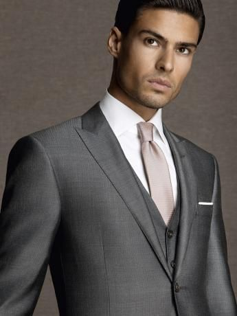 Micro Effect Glossy Wool Silk Suit Silver Grey Two