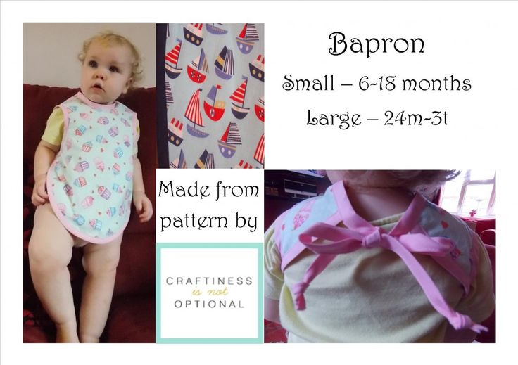 The cover-all baby apron, aka The Bapron.  Cotton blend print lined with absorbent flannelette, edged with poly-cotton bias binding.   Made from pattern by Craftiness is not Optional (http://www.craftinessisnotoptional.com/)