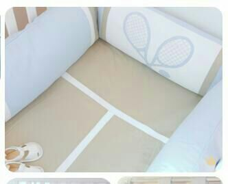 Baby boy's room, Tennis player decor.