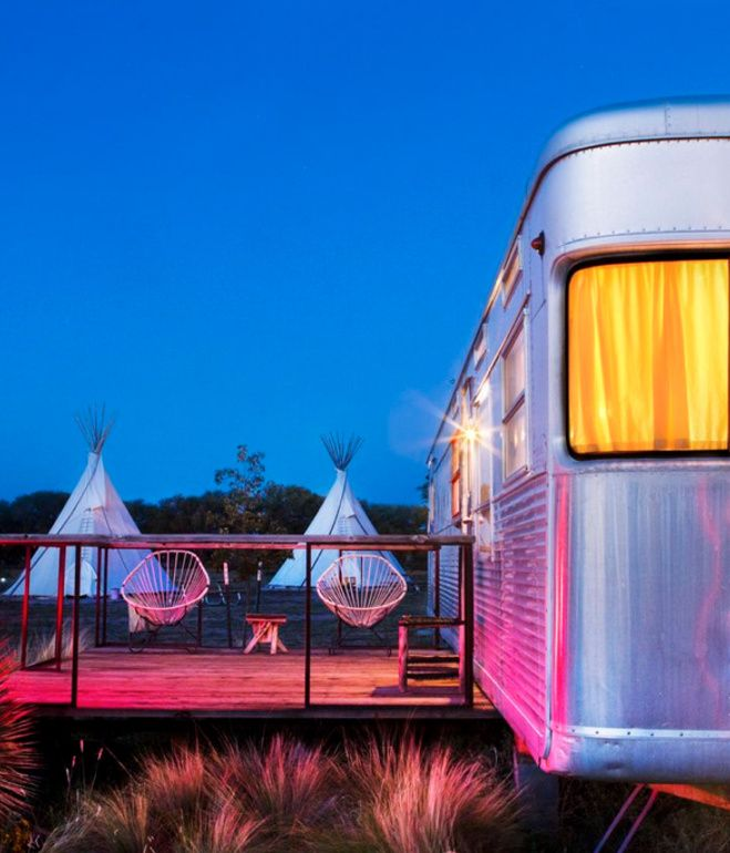 Night settles in around the wanderers sheltered in El Cosmico's teepees and trailers. As El Cosmico shows, understanding a small space involves understanding the infinitude of the world beyond them.   Photo by Nick Simonite.