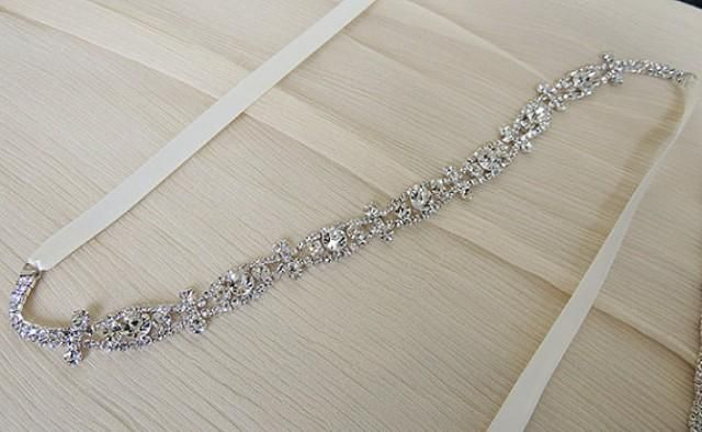CECILE - Sash 2015 Collection    Material : Crystal rhinestone, double sided satin ribbon    Sash / ribbon color: Antique white, Ivory , White,