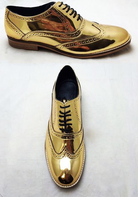 £340/$500 UNISEX handmade high-quality brogue shoes with a mirror finish available in various colours including chrome silver and gold. Available for both men and women from London-based footwear designer Luke Grant-Muller, free shipping worldwide.