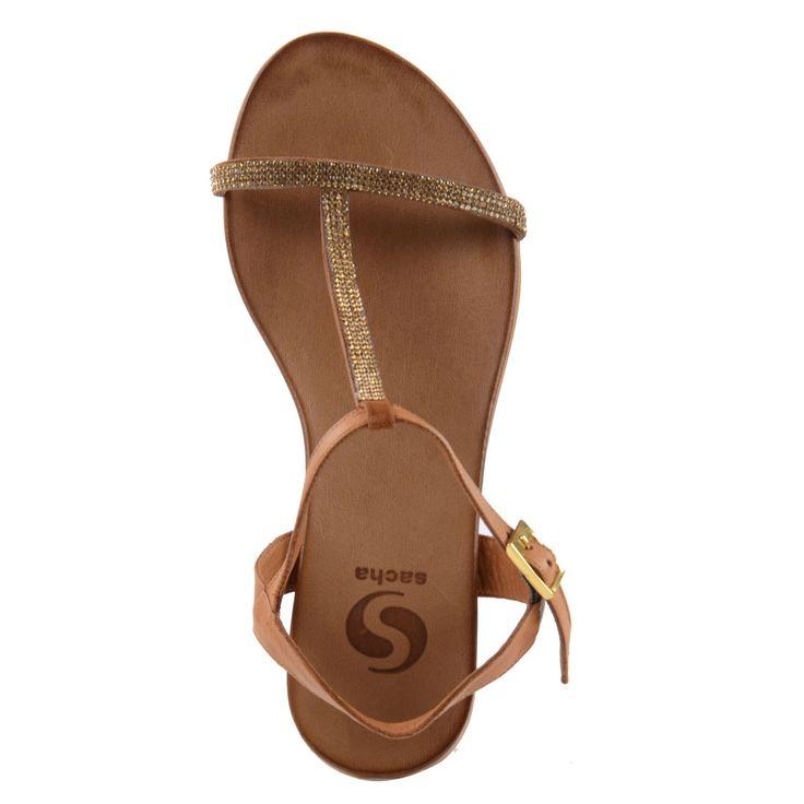 Strass sandalen - bruin