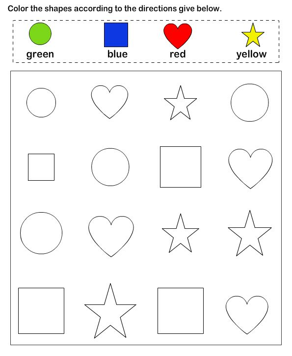 shapes math worksheets preschool worksheets - Color Activity For Preschool