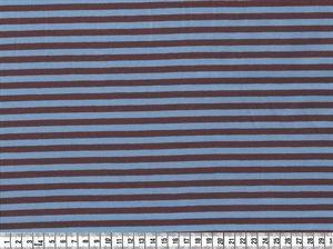 Bomulds Jersey, Økologisk stof med striber, lysblå/brun, pr. 0,25 m. - STOF og STUFF - kreativ livsstil | Stof, metervarer og tekstiler.