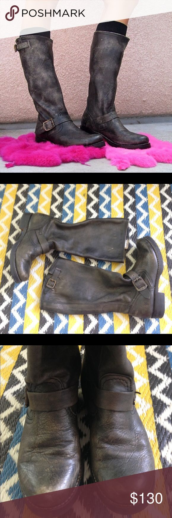 Frye Veronica pull on boots Size 8 great used condition. distressed blackish gray color. Perfect fall boot for every outfit. Frye Shoes Heeled Boots
