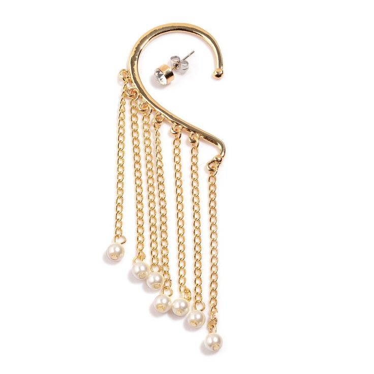 Simulated Pearl, Austrian Crystal Goldtone Single Ear Cuff With Stud Earring | earrings | jewelry | online-store | Liquidation Channel