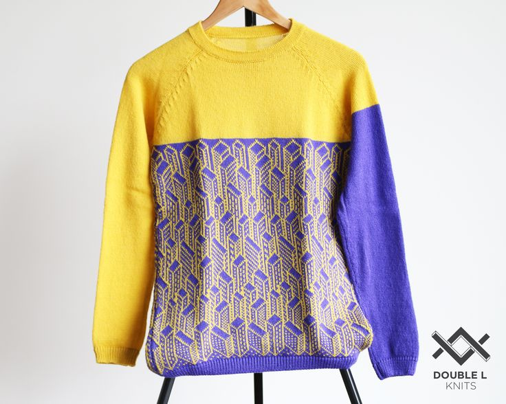 Handmade pullover by DoubleLknits, geometric pattern #doublelknits #geometry #colorful #city