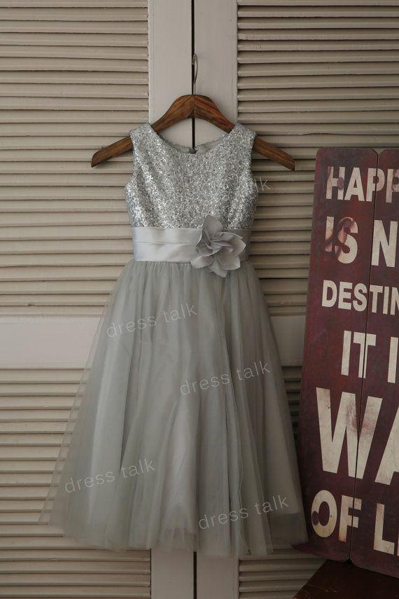 Silver Sequin Grey Tulle Flower Girl Dress Toddler/ Baby Girl Dress for Wedding with Flower Sash Birthday Dress on Etsy, $52.99