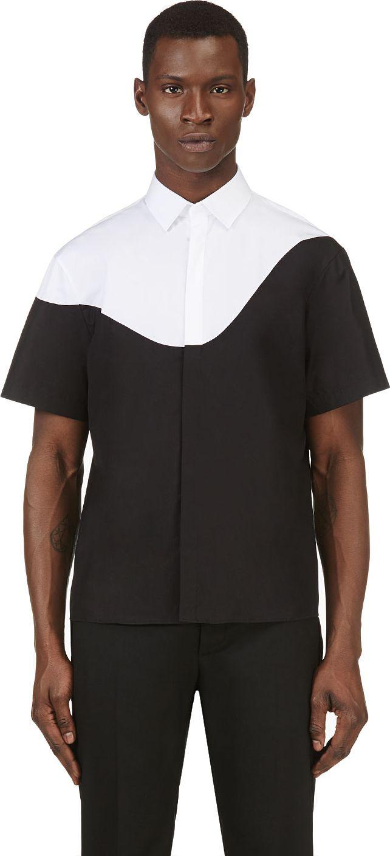 Neil Barrett: Black & White Colorblocked Short Sleeve Shirt