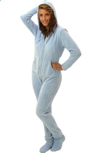 Del Rossa Women's Fleece Hooded Footed One Piece Onesie Pajamas (Light Blue) #pjs #sexy #sleepwear #lounge