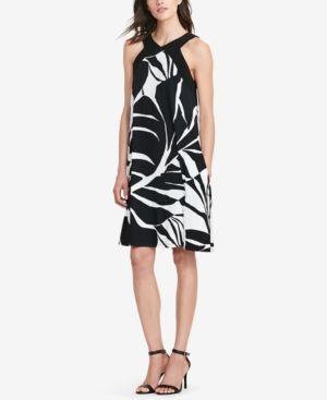 Lauren Ralph Lauren Printed Jersey Dress - Black/Colonial Cream/ 18