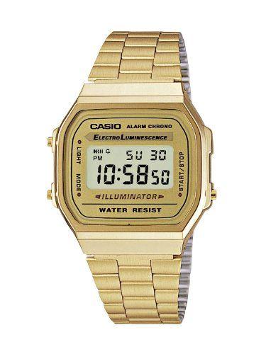 CASIO Collection A168WG-9EF - Reloj unisex mujer y hombre de cuarzo, correa de acero inoxidable color dorado