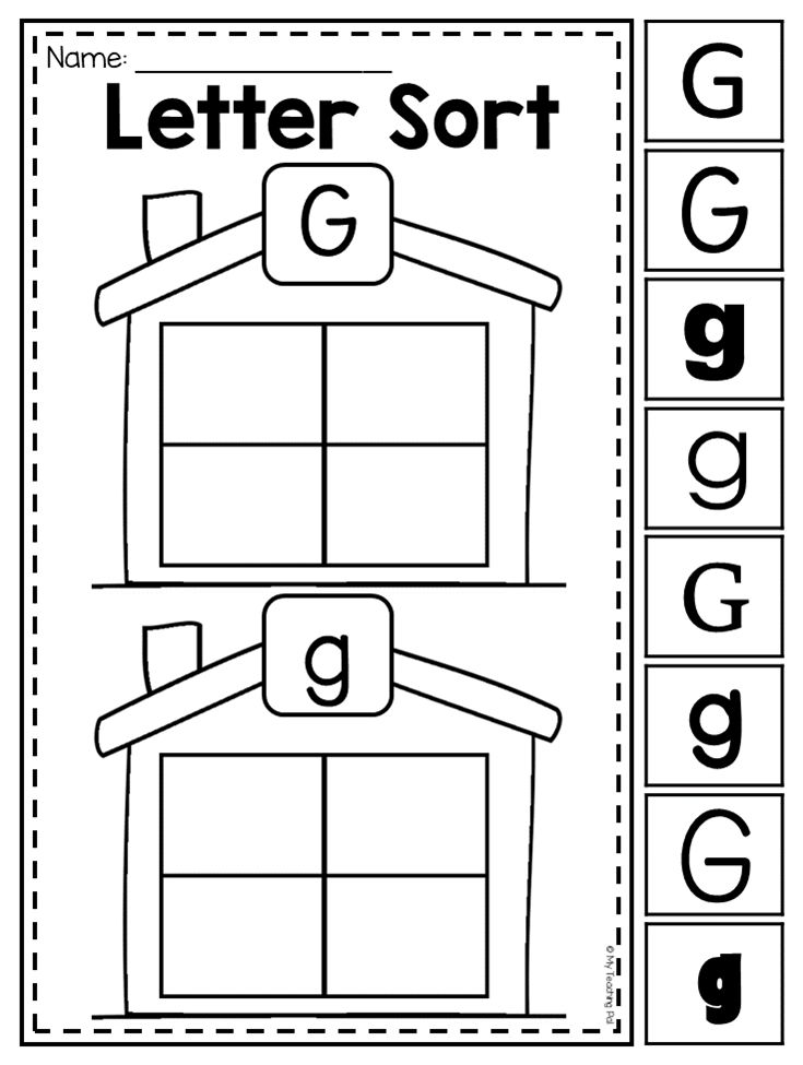 Letter G sorting worksheet. Students are given the opportunity to:  ♥ Trace letters ♥ Formulate their own capital and lower case letters ♥ Identify pictures that begin with a specific letter sound ♥ Identify capital and lower case letters ♥ Write the beginning sound of words ♥ Identify letters in a range of fonts and formats.