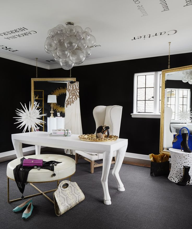 fashion blogger designer chanel hermes prada gucci wall decals transitional black and white home office inspiration ideas gold hanging mirrors walk in closet