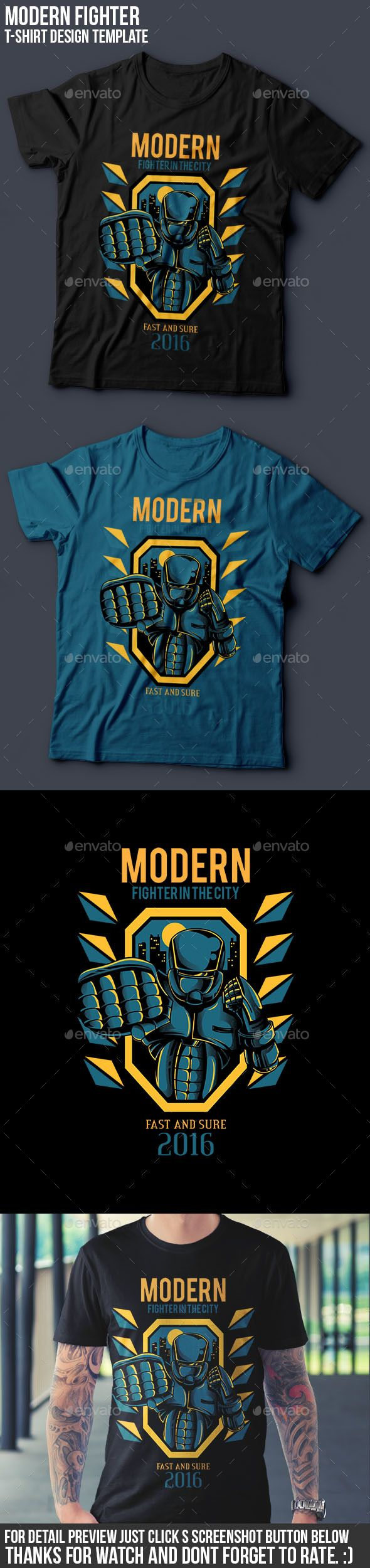 T shirt design quad cities - Modern Fighter T Shirt Design