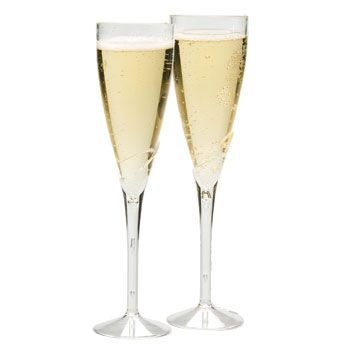 Durable plastic champagne flutes have an elegant lily-like design and are a beautiful complement to any special occasion! A caterers delight, they are great for toasting at weddings, parties, and busi