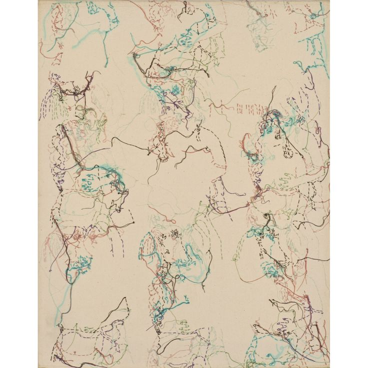 Ghada Amer (née en 1963) Sans titre, 1996 Broderie et gel sur toile Signée et datée en bas à droite sur la tranche 50 × 41 cm