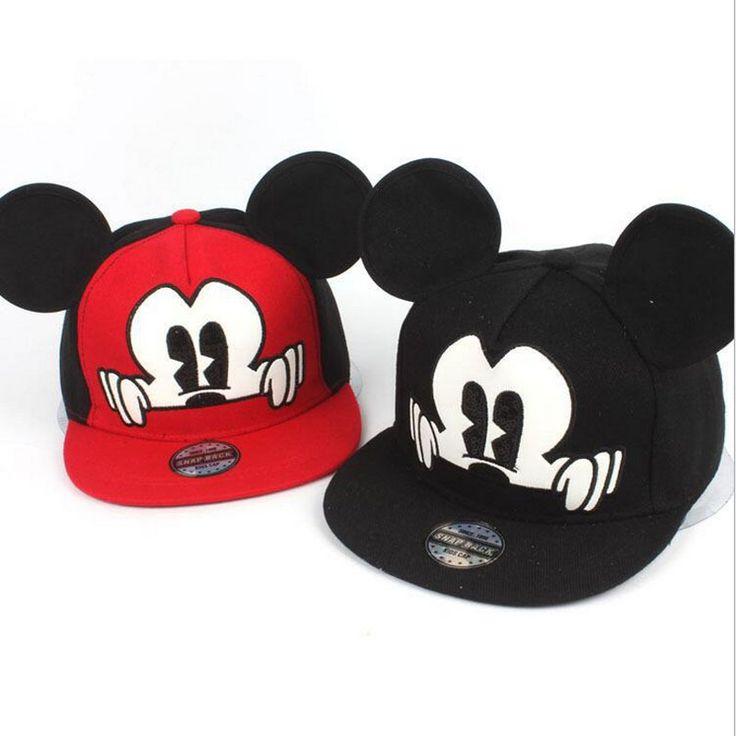 New Years Fashion Mickey Children Snapback Caps Baseball Cap With Ears Funny Hats Casquette Hip Hop Snapback Flat Bone Aba