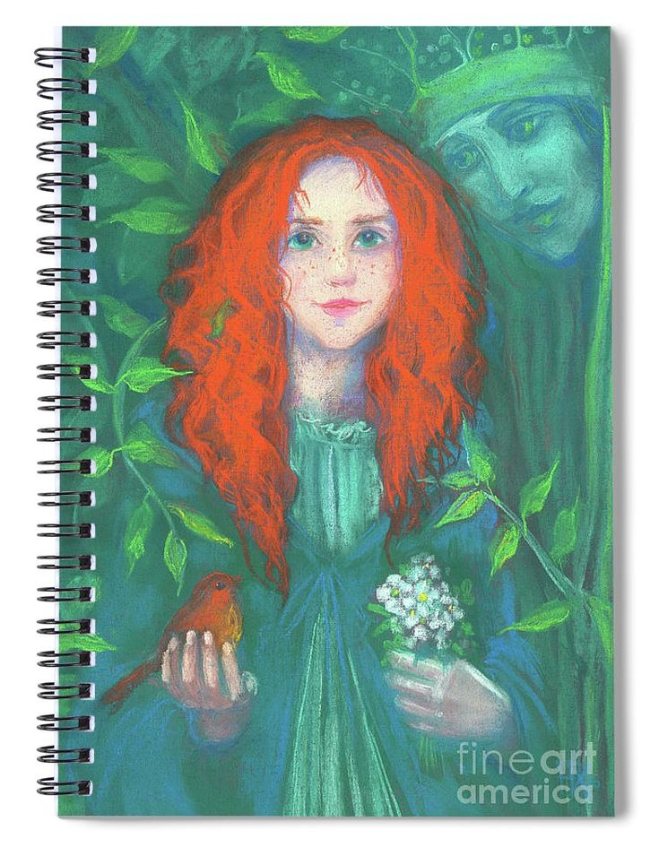 Child of the forest, Spiral Notebook Lovely redhead girl with orange bird and white flowers in her hands, Dryad Queen hugs the child by her branches. Surreal / fantasy art, celtic legends / Irish fairy tales. © Clipso-Callipso / Julia Khoroshikh   #redhaired #greenforest #magicalforest #fantasyart #orange #green #ginger #celtic #irish #dryad #irishtales #gingergirl #fairytale #Gaia #gingerchild #redhead#gingerkid #gingerhair #redhair #magicforest #notebook #stationery #stationeryaddict