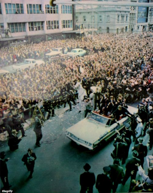 The Beatles in Adelaide, Australia (June 1964) where the band were met by approximately 350,000 fans who lined the streets for 16 kilometres to the city center #THE BEATLES