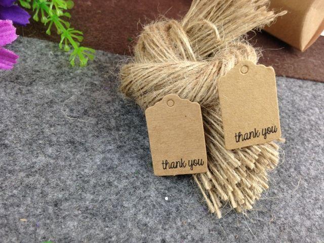 Doprava zdarma 3x2cm Barevné cenovky Ručně vyrobené dárky tagy Děkuji DIY karty Kraft papír Oděvní Štítky 200ks Tagy + 200ks Strings